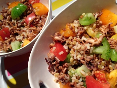 Salade de poulpes aux tomates et 4 céréales