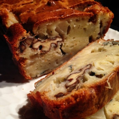 Cake aux poires roquefort et noix