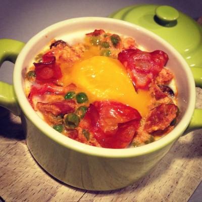 Oeuf cocotte Chorizo Tomate